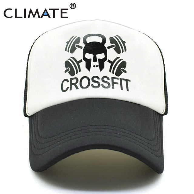 00527c6bdc7 CLIMATE Men Trucker Cap GYM Crossfit Cap Men Dumbbell Kettle-bell Fitness  Fans Mesh Body