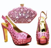 2019 New arrival african aso ebi party lovely pink italian shoes and bag set matching high heel sandals with clutches SB8339 4