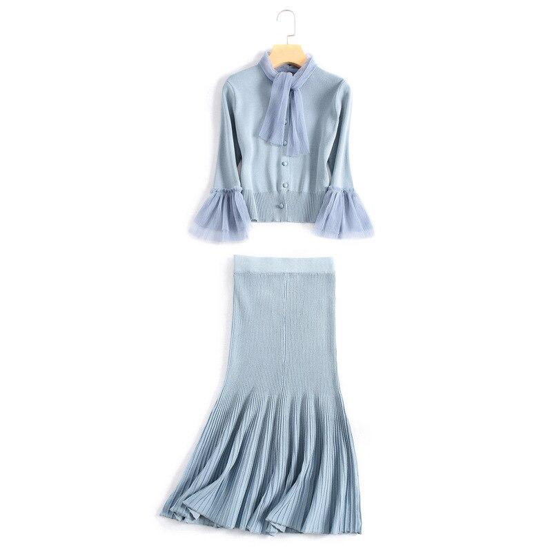 Street Taille Chic Manches Coton Tricoter Femmes Élastique Falre À Jupes Jumeaux Une Mince Élégant High Jupe Costumes Ensembles Chandail Russe pqpdYX