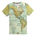 Map of the North/South American Continent 3D Print T-shirt Ocean Teenagers Unisex Costume Summer Tee Shirts Loose Homme Tops