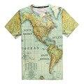 Mapa do Norte/Sul do Continente Americano T-shirt de Impressão 3D Oceano Adolescentes Unisex Homme Traje Tee Verão Camisas Soltas topos