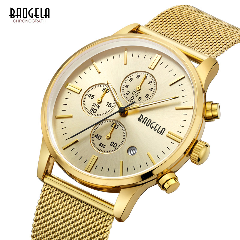 Baogela Mens הכרונוגרף Waterproof קוורץ שעונים - שעונים גברים