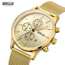 Baogela Mens Cronógrafo Correa de Acero Inoxidable Relojes de Moda de Cuarzo Resistente Al Agua Luminosa Canlendar Reloj para Hombre 1611 de Oro