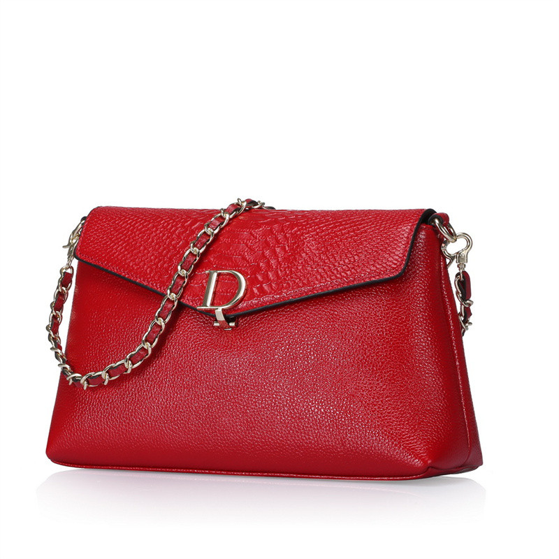 Nesitu Red Pink Blue Black Grey Genuine Leather Cute Small Women Messenger Bags For Girl Shoulder Bags Chain Strap #M0712