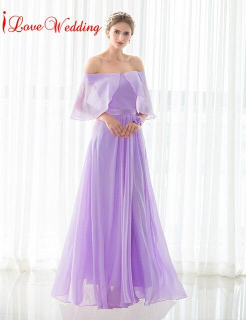 iLoveWedding Lavender Bridesmaid Dresses A Line Floor length Chiffon ...