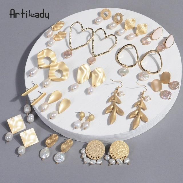 Artilady Korean Earrings Baroque Pearl For Women Girls Gold Dangling Birthday Gifts