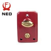 NED 556 Exterior Door Retro Red Locks Security Anti Theft Lock Multiple Insurance Lock Wood Door