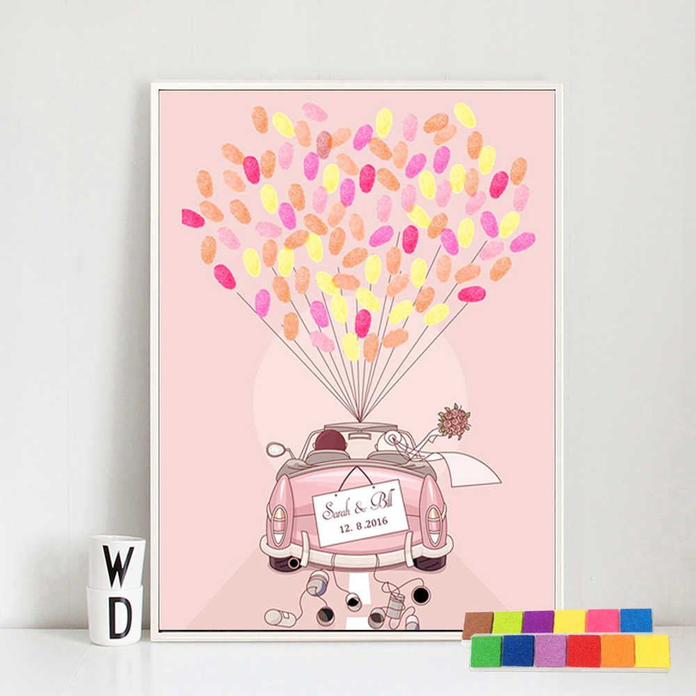 結婚式のゲストブックピンク車指紋ツリー絵画パーソナライズされた結婚式のゲストのための指紋ピンク車のキャンバス絵画