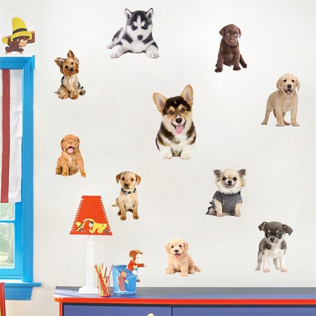 Cute Funny 3d Dog Cat Door Wall Sticker Lovely Huskies Koji Pet Dog