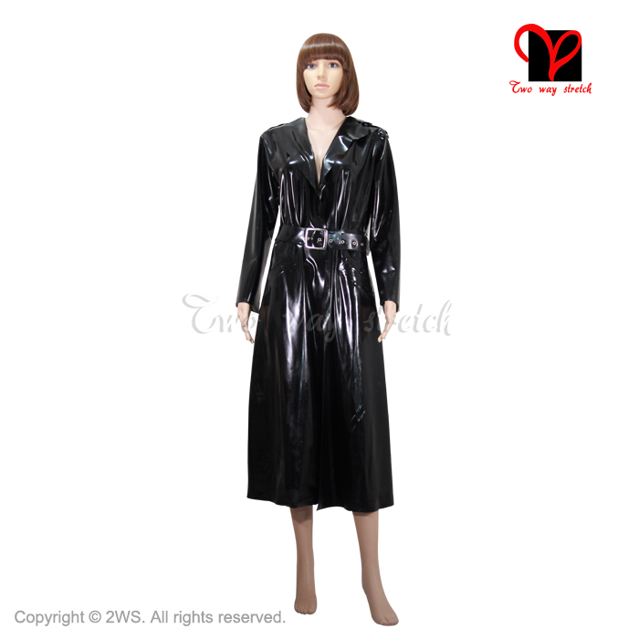 Sexy Black Latex matrix coat Long sleeves Rubber Cosplay Gummi   Trench   Outfit Oversized Cosplay plus size Top size XXXL DY-003