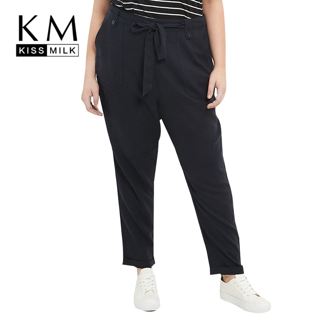 Kissmilk Plus Size New Fashion Women Pants Casual Solid Black Pants Loose Full Length Big Size Harem Pants 3XL 4XL 5XL 6XL