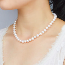 ASHIQI Real Natural Freshwater Pearl Necklace For Women 8-9m