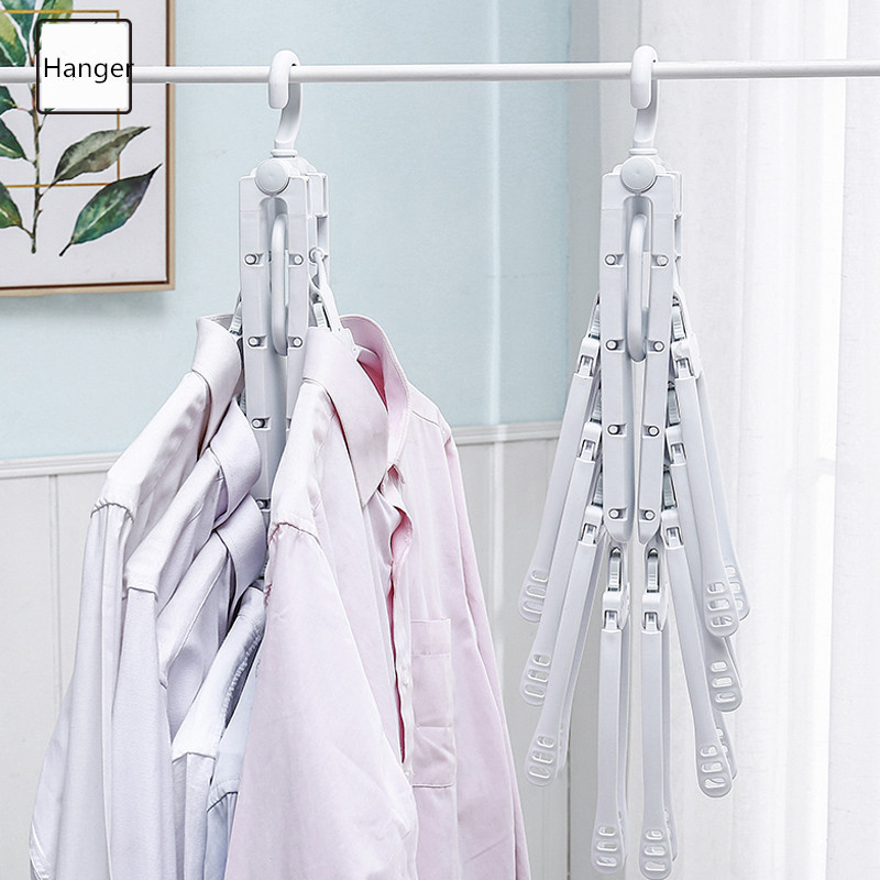 Image 5 - Multifunctional Magic Smart Hanger Storage Foldable Artifact Clothes Rack Household Drying Rack Clothing Multi layer Folding-in Drying Racks & Nets from Home & Garden