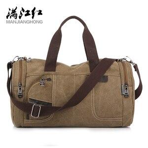 Image 1 - Coreano 2020 novo simples dos homens bolsa casual selvagem grande capacidade saco de lona moda personalidade bolsa de ombro moda bolsa de viagem