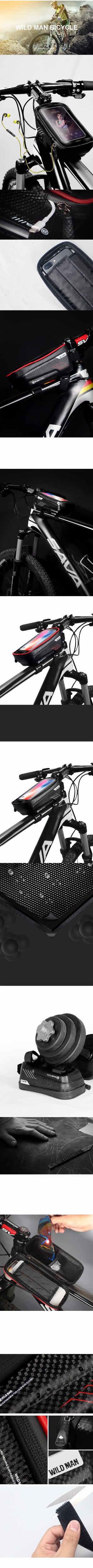 Discount WILD MAN Mountain Bike Bag Rainproof Waterproof Mtb Front Bag 6.2inch Mobile Phone Case Bicycle Top Tube Bag Cycling Accessories 3