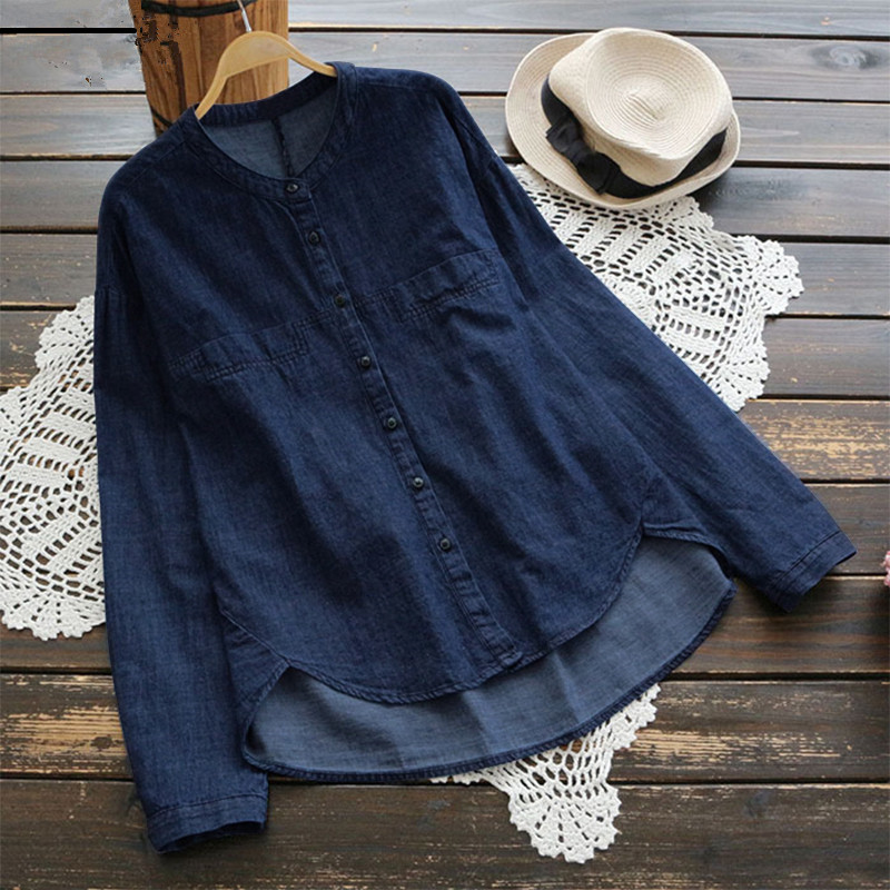 Plus Size S-5XL Jean Blouse Autumn Stand Collar Long Sleeve Women Blouses Solid Office Shirt Casual Tops Blusas Chemise Femme