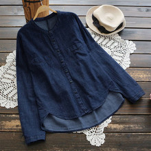 Plus Size S-5XL Jean Blouse Autumn Stand Collar Long Sleeve Women Blouses Solid Office Shir