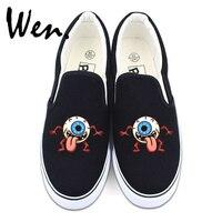 Wen Original Design Eye Ball Monster Black White 2 Colors Casual Shoes Slip On Flats Men