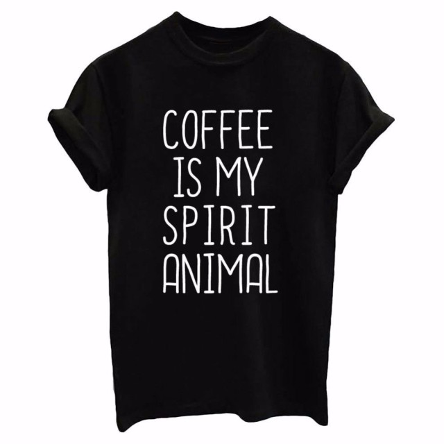 Черная футболка Летний стиль 2017 г. кофе мой дух Письмо печати животных Футболка Прямая доставка