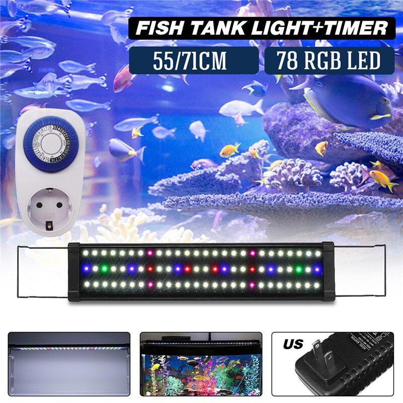 US plug RGB Series 78LED Lights Matching timer 3510LM 18W AC100-240V Multicolor Plant Aquarium Multicolor Plant Light sp 1000 3 in 1 18w submersible pump for fresh marine aquarium black ac 220 240v us plug
