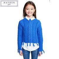 HAYDEN Dziewczyny Sweter Z Dzianiny Dzieci Solidna Pullover Swetry Nastolatek Dziewczyny Crop Dzianiny Knitting Patterns Pomponem Swetry Dla Dzieci