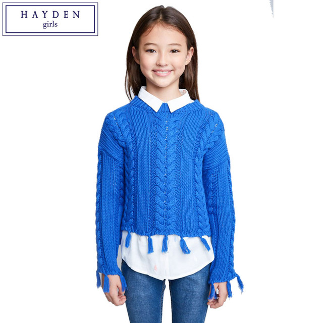 6ecb829433af9b HAYDEN Girls Knitted Sweater Kids Solid Pullover Sweaters Teen Girls Crop  Knitwear Knitting Patterns Children s Tassel Sweaters
