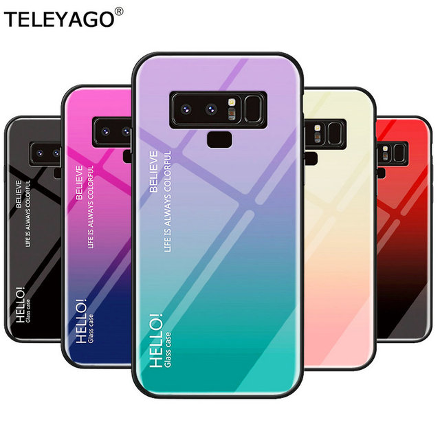 on sale 4f81e 54f34 US $3.05 32% OFF|For Samsung Galaxy Note 8 /Note 9 Case Fashion Gradient  Color Tempered Glass Back Cover Silicone Phone Protective Case Cover Bag-in  ...