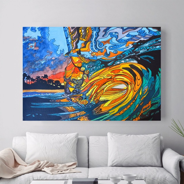 Abstract Hawaii Surf Artwork Canvas Art Print Painting Poster Wall Pictures  For Living Room Decor Home Part 47
