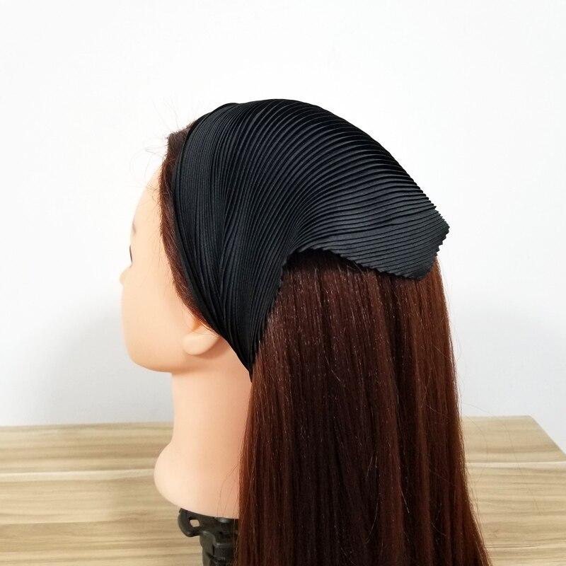 Italian Pleated Scarf Silky Head Wear Solid Color Design Stylish Bandana Assorted Crumple Neck Scarf