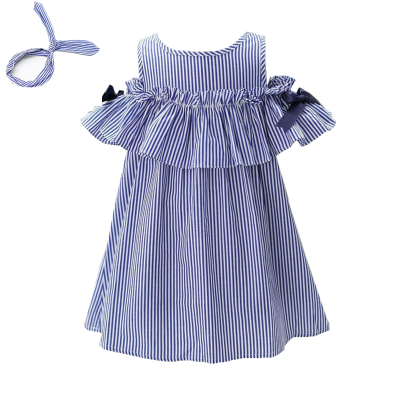 Summer Girls Dress 2017 Stripe Dresses For Girl With Headband Kids Clothing Infant Princess Children Vestidos Kids Clothes summer girls dress 2017 stripe dresses for girl with headband kids clothing infant princess children vestidos kids clothes