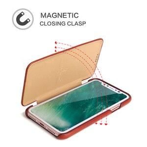 Image 3 - Für iPhone X XR Echtem Leder Telefon Fall Schlanke Rindsleder Abdeckung Business Echt Leder Magnetische Smart Cover für Apple iPhone XS Max