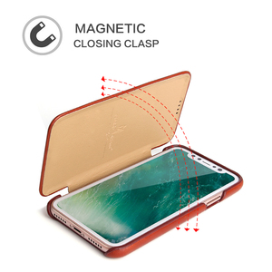 Image 3 - For iPhone X XR Genuine Leather Phone Case Slim Cowhide Cover Business Real Leather Magnetic Smart Cover for Apple iPhone XS Max