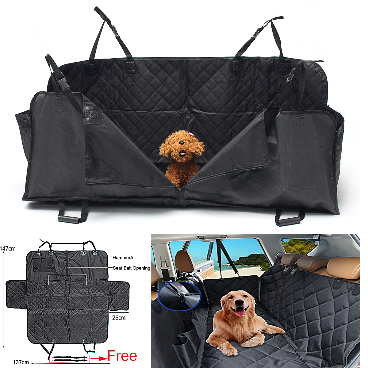 Pet Car Seat Cover Dog Safety Mat Cushion Waterproof Rear Back Seat Protector Hammock outing dog cat pet car truck seat cover hammock carpet mat beige