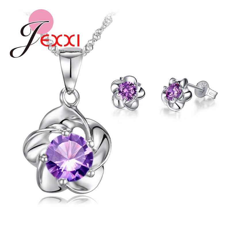 JEXXI font b Luxury b font Classic 925 Sterling Silver Rose Flower Necklace Purple Cubic Zirconia