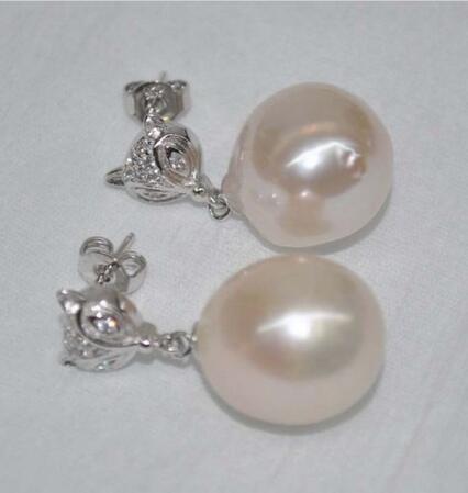 Очень блеск барокко розовый белый 14*14 15 мм Касуми жемчужные серьги гвоздики - 4