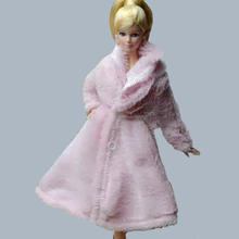 Doll Accessories Winter Wear Fur Coat Long Dress Clothes For Barbie Dolls Fur Doll Clothing For 1/6 BJD Doll Kids Toy