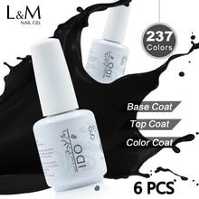 Gelpolish 15ml IDO Nail Polish Set Brands 6 Pcs Free Shipping (4 Colors+1 Top+1 Foundation Base) Soak Off Uv Gel Varnish Nails