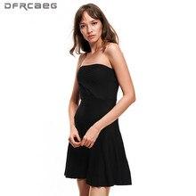 Черный, белый цвет трикотажное летнее платье Для женщин Мода Повседневное пикантные с открытыми плечами Vestidos Femme стройная женщина короткий Платья для женщин