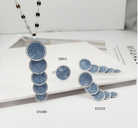 Hot 925 Sterling Silver Costume Jewelry Blue Evil Eye 3 Piece Set Earrings/Ring/Necklace Turkish Style Jewelry Sets For Women