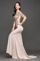 Robe de Soiree Longue Luxury Beaded Lace Mermaid Long Sleeve Evening Dress  Sexy Sheer Back Evening Gown Vestido de Festa 5