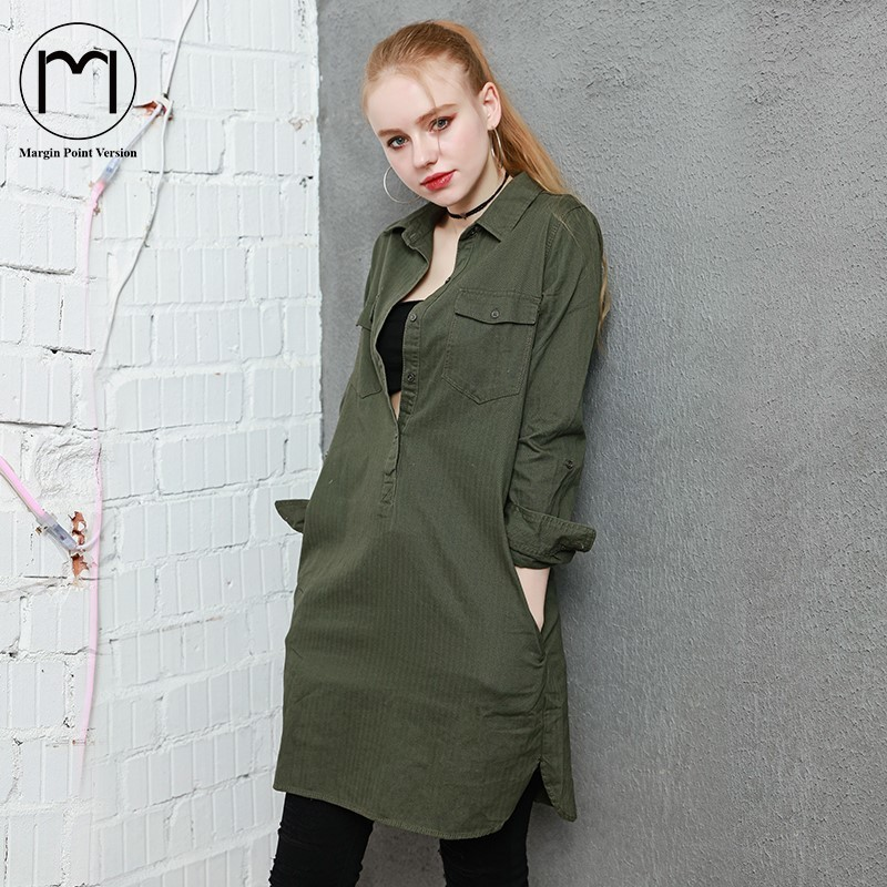 Margin 2018 NEWasual Dark Green Cowboy Long Women T Shirt 2017 Spring & Autumn Three Quarter Sleeve Shirt High Quality Plus Size the new high quality imported green cowboy training cow matador thrilling backdrop of competitive entrance papeles