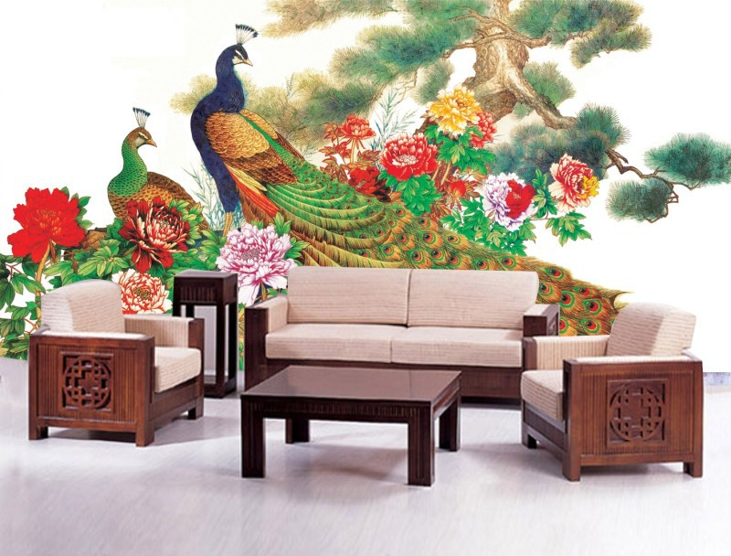 Chinese Paint Style 3d Papel De Parede Beautiful Peacock Vintage Design Wallpaper Wall Paper Mural Useage Living Room In Wallpapers From Home