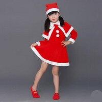2017 Nieuwe 3-6 jr meisje winter jurk kerst Rode santa meisjes jurken lange mouw peuter meisje kleding kinderen kostuum A0038
