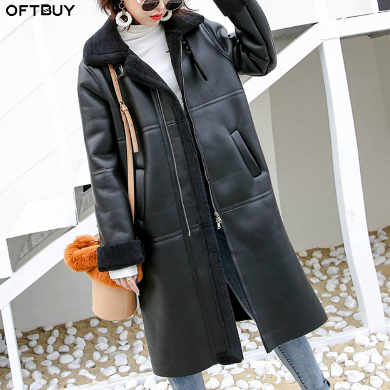 OFTBUY 2019 Double-faced Fur Real Leather Coat Real Fur Coat Winter Jacket Women Natural Sheep Fur Long Outerwear Streetwear New