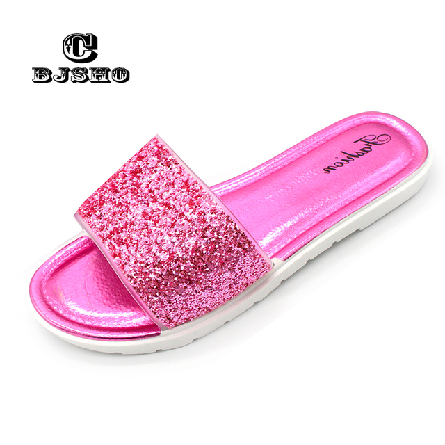CBJSHO Summer Flat Slippers for Women Slip on Glitter Slippers Female  Casual Sandals Slippers Beach Peep 8ee1c4cfe0ae