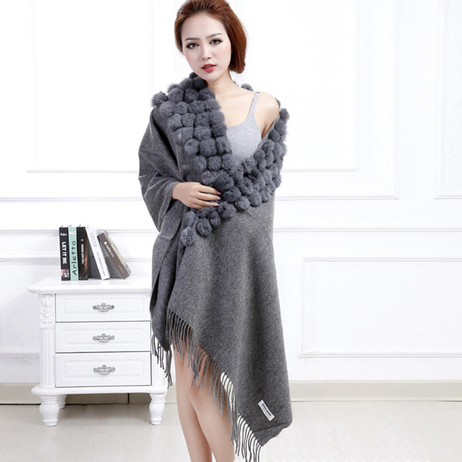 Hot Sale 2018 Women Long Scarf WinterThickening Warm Shawl With Real Rabbit Fur Ball Fashion Cape Wrap Gray Red Stole Low Price