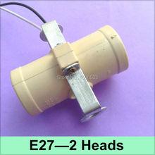 1X E27 2 Heads Lamp Bases Buld Light Adapter E27 Lamp Base Holder  Photography light Double E27 Bracket Socket