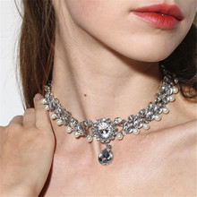 ECODAY Crystal Statement Necklace Women Chocker Collier Femme Ketting Pearl Necklaces Wedding Jewelry