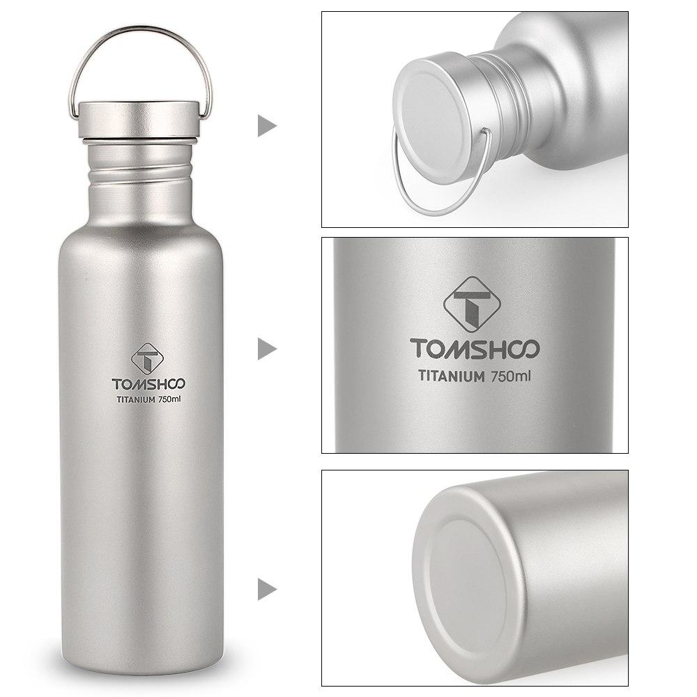 Tomshoo 750 Ml bouteilles d'eau en titane complet Portable adulte ultra-léger Sports de plein air voyage Camping randonnée bouteille avec couvercle supplémentaire - 5