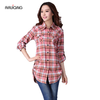 Women S Shirt 2017 Autumn Winter Ladies Female Casual Cotton Lapel Long Sleeve Plaid Shirt Women